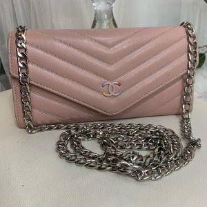 Chanel pink wallet with chain added